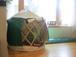 A yurt provides a quiet place for individual reflection